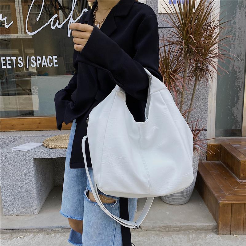 Weißes Leder Frauen Half Moon Taschen Große Kapazität Hobo Shopper Bag Qualität Weiche PU Crossbody Tasche Beiläufige Koreanische Weibliche Einkaufstaschen C1223