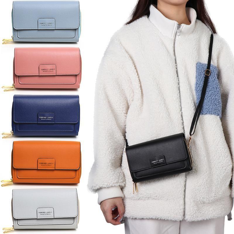 1 unid mujer Crossbody PU Cuero 2 bolsillos Bolsa de teléfono Muti-Función Capacidad de gran capacidad Messenger Bolsos de hombro con cremallera
