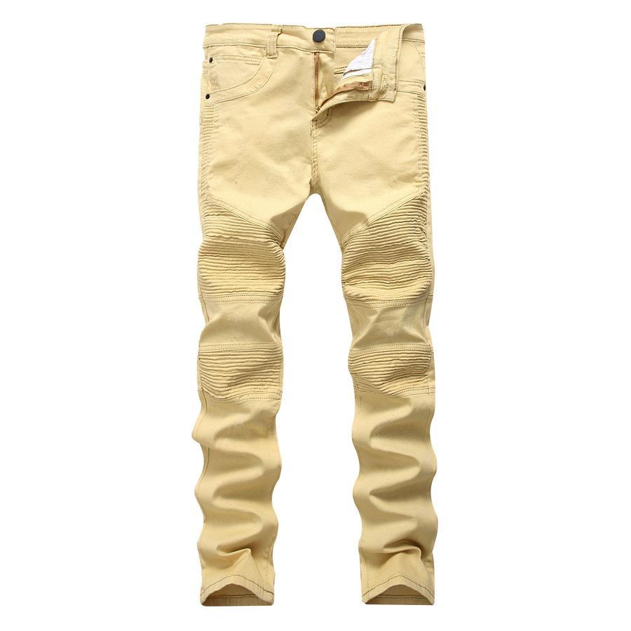 Khaki Biker Jeans Diseño Plisado Para Hombre Pinkle Slim Stretch Denim Pantalones Nuevo Llegada Hip-Hop Street Ripped Jeans