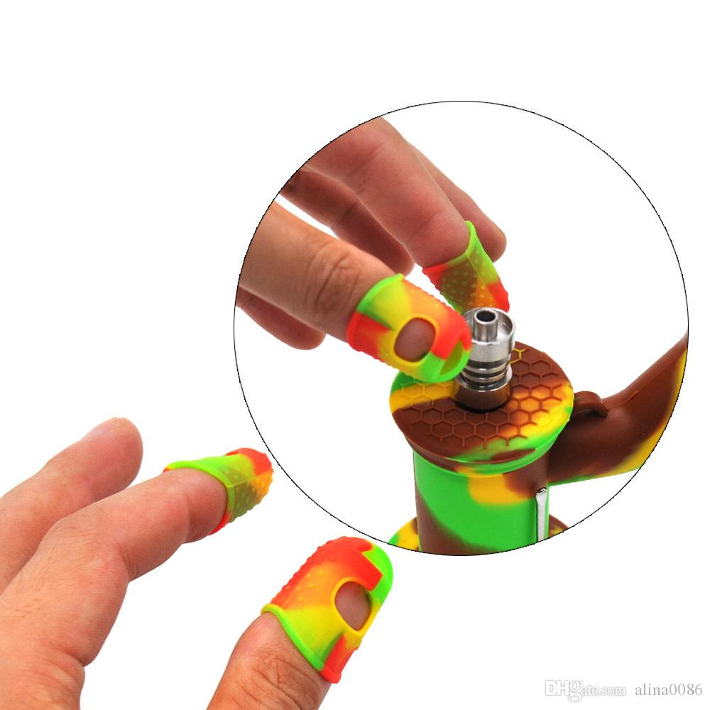 Dedo de silicone Outras fumar Acceoories Sleeve Set Dedos de Borracha Cobertura Caps Anti Alta Temperatura Combinação Índice Índice do Thumb Protetores para fumaça