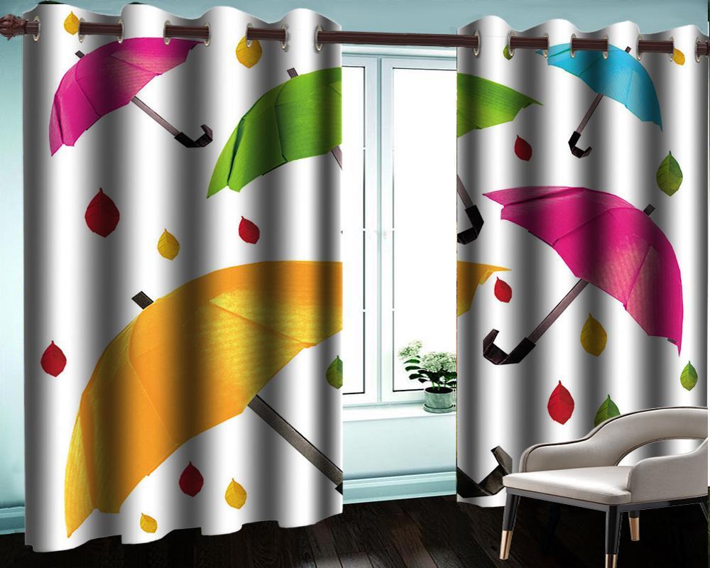 3d Европейский стиль штор 3d Современный занавес окна Красивый зонтик Оптовая занавес для ванной комнаты