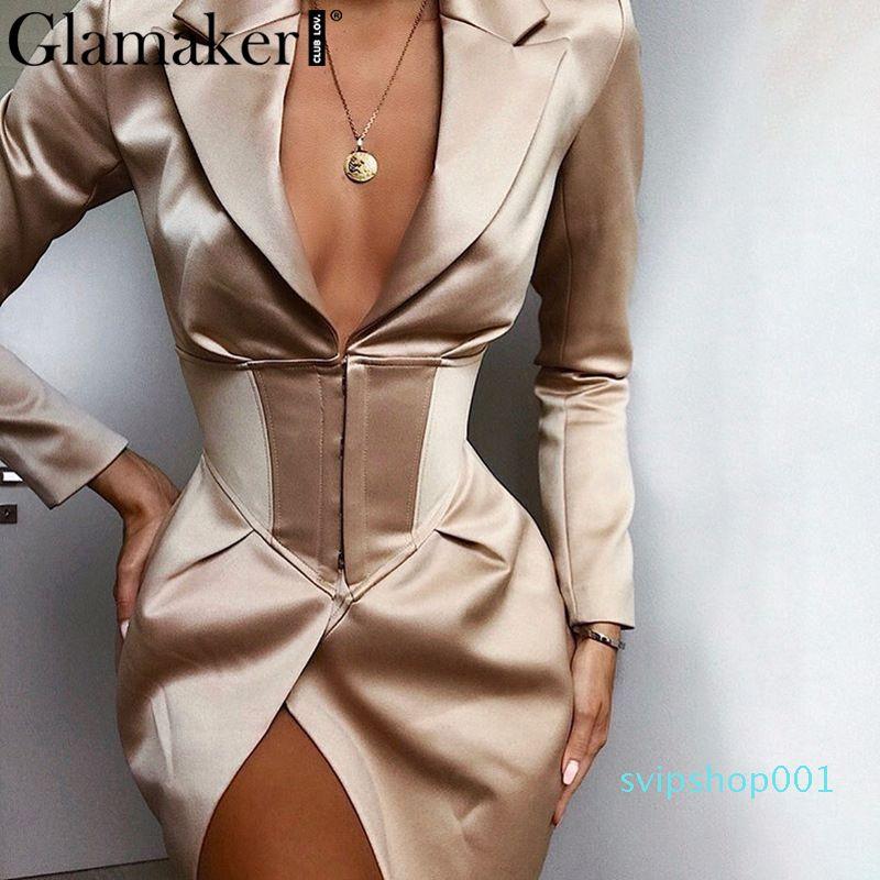 Womens Blazer V-Ausschnitt Khaki Sexy Blazer Kleid Frauen Herbst Winter Bodycon Elegante dünne Mantel Outwear Weibliche Party Club Nacht Blazer