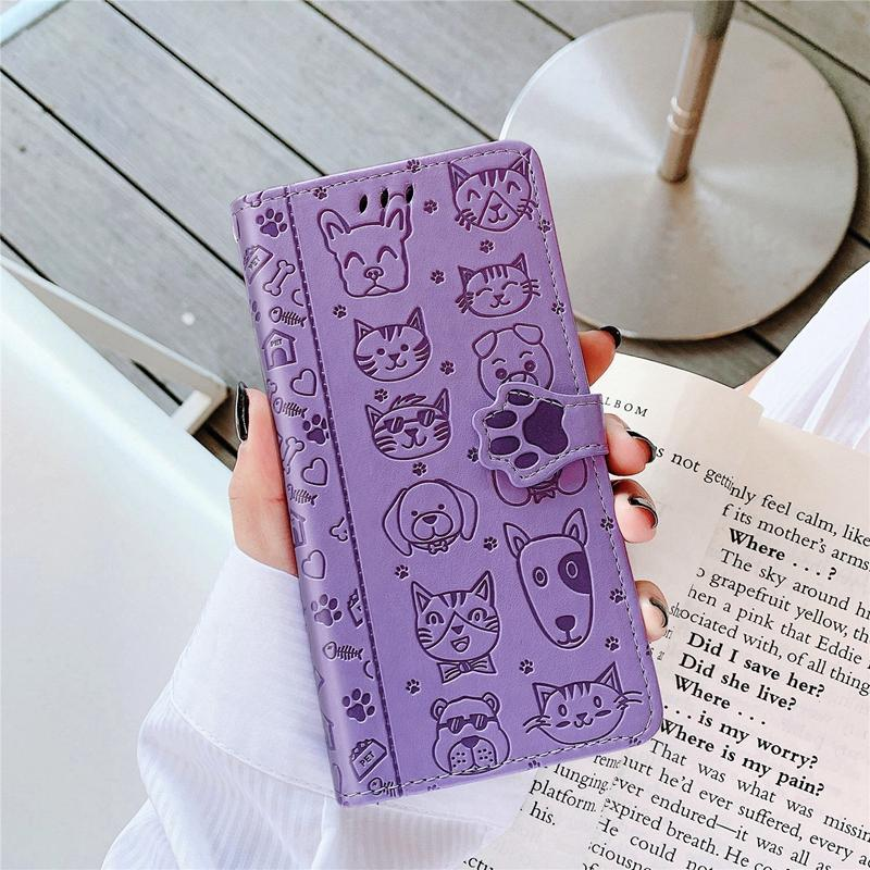 Emboss Cartoon Wallet Leather Case For Iphone 12 mini Pro max 11 Pro Max XR XS X 8 7 6 Stand Strap With Card Slot Flip Dog Cat luxury case