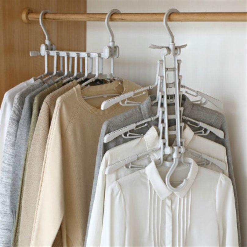 Cabide de roupa de aço inoxidável 12 furos ganchos de secagem ganchos de espaçamento de espaçamento organizador calças de roupa interior Dormitório Dormitório 201221