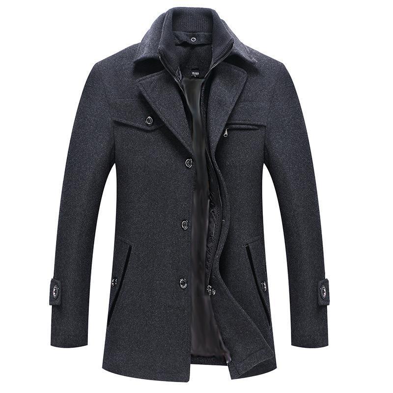 2020 New inverno casaco de lã Slim Fit Jackets Mens Casual Quente Casacos Jacket Dropshipping dimensão europeia
