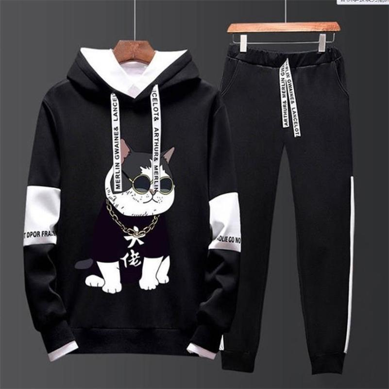 Men's autumn new style Hooded Sweater men's Korean fashion casual suit sportswear coat student's small leg pants man clothes 201130