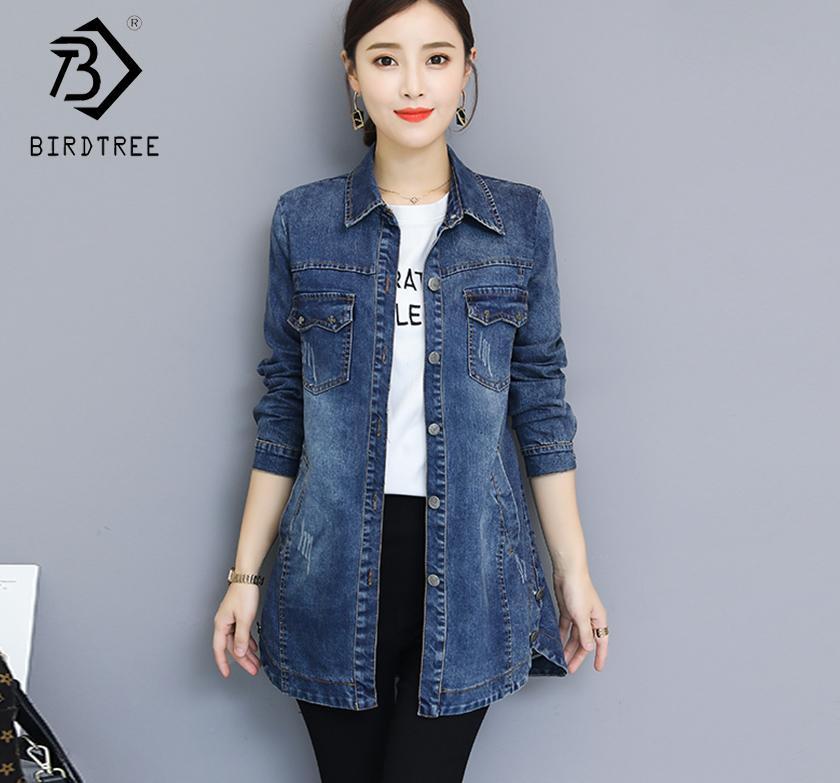 Женщины Длинные джинсовые куртки Весна осень плюс размер 3XL свободный полноту моды мода синие топы женские повседневные девушки в тупик C80612L 201106