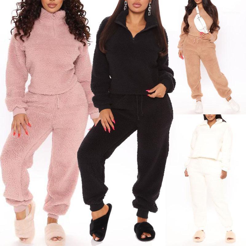 Meihuida 2020 Automne hiver chaud deux morceaux Set Femmes Sweat-shirt épais solide avec fermeture à glissière Cordon de serrage Harem Pants Outfit Homewear1