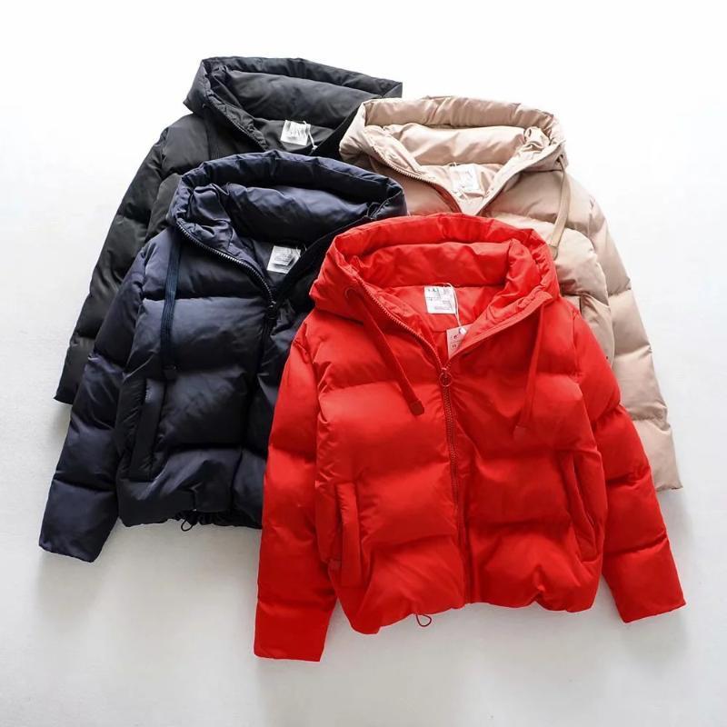 HAPEDY Kış Aşağı Ceket Kadın Kapşonlu Pamuk Yastıklı Haki Ceket Coat Kalınlaşmak Casual Kadınlar Kısa Parkas Puffer Isınma