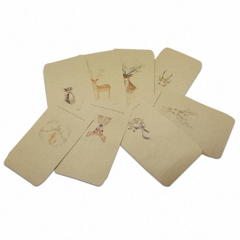 50pcs / lot 8 estilos Brown Kraft Paper envelope Bolsas Retro Eventos Cartão do convite do partido Fotos sacos de embalagem Armazenamento Carta Bolsas 9YAS #