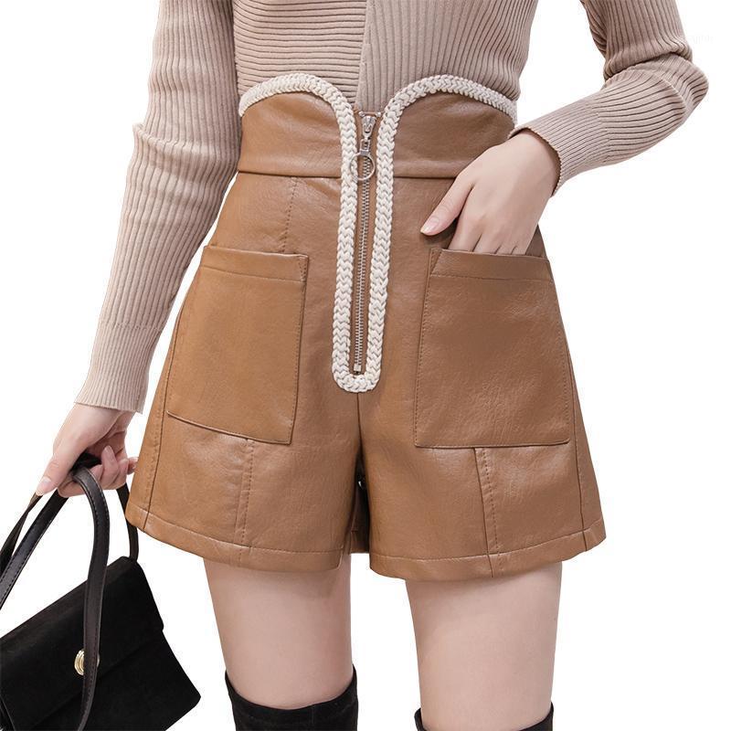 Pantalones cortos de cintura alta de cintura Mujeres 2020 Nuevas botas de pierna ancha de cuero coreano PU de cuero corto Pantalón corto Moda más Tamaño Negro Shorts Girls1