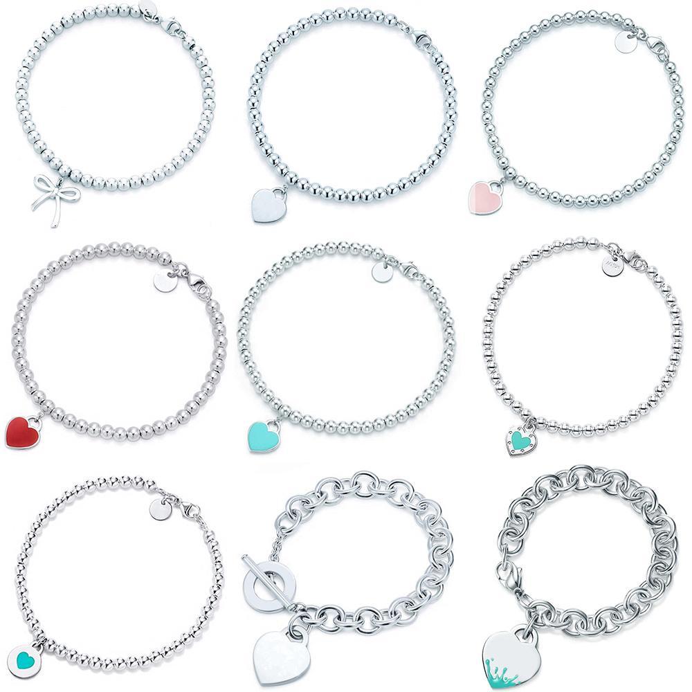 100% 925 Ayar Gümüş Orijinal Tiff Kalp Şeklinde Kolye Bilezik Takı Charm Marka Tasarım Kadınlar Için Logo Güzel Takı Hediye