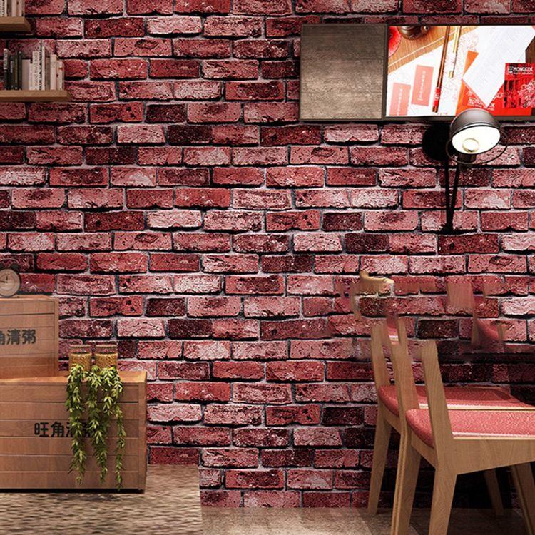 3D Waterproof Retro Brick Wallpaper Roll Restaurant Cafe Living Room Background Wall Decor Vinyl PVC Wall Paper Papel De Parede