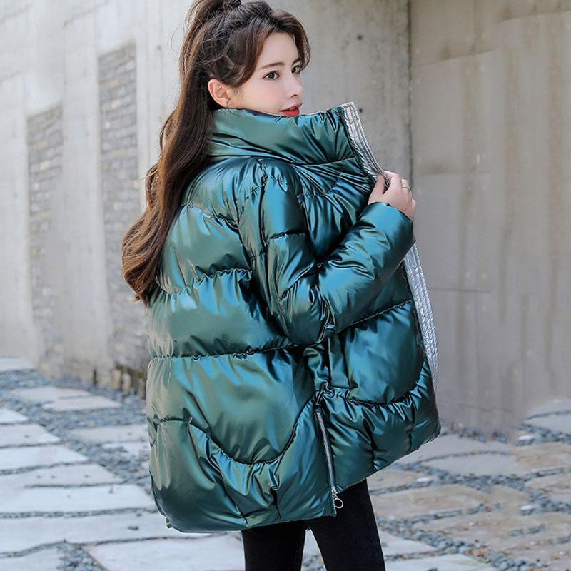 2021 зима вниз мягкая пиджака женская густая глянцевая лоснистая ветровка Parka пальто женщин зима яркая цветовая куртка женщин