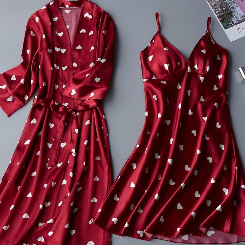 Damen Nachtwäsche 2 stücke Nachtyobe Anzug Satin Frauen Robe Set Kimono Kleid Lässig Intime Dessous Print Home Kleidung Sexy Nachthemd