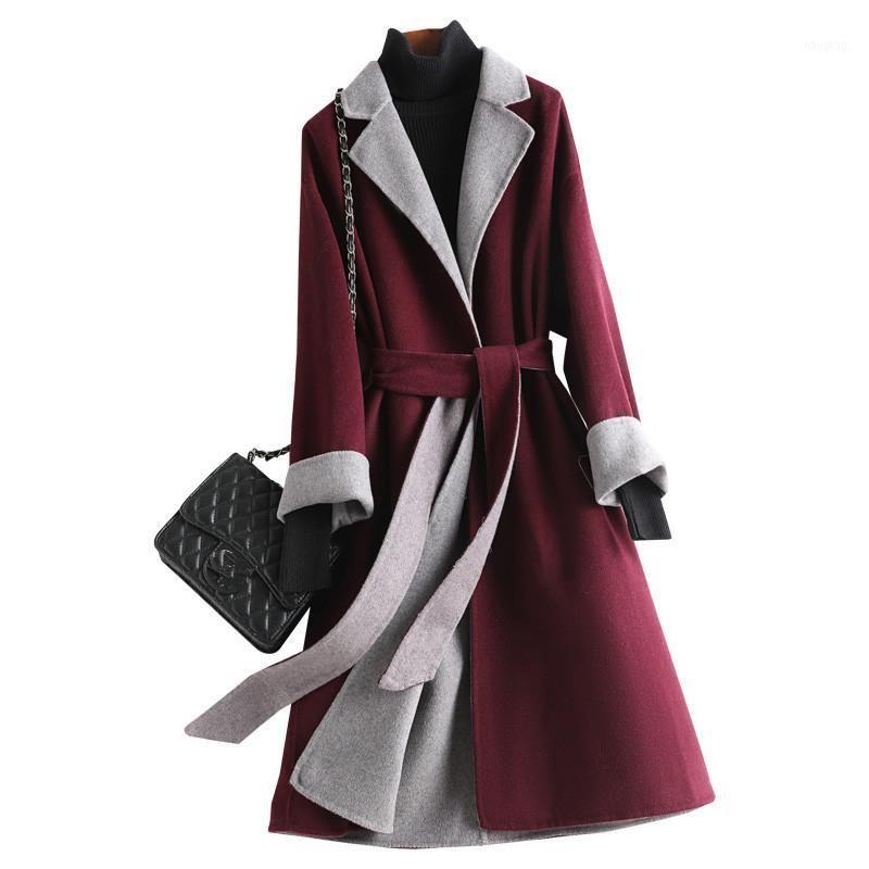 Mezclas de lana para mujer 2021 Office Lady Largo 50% abrigos Mujeres Outwear Outwear Blend Beg y Chaqueta Cuello de turno de la chaqueta con cinturón1