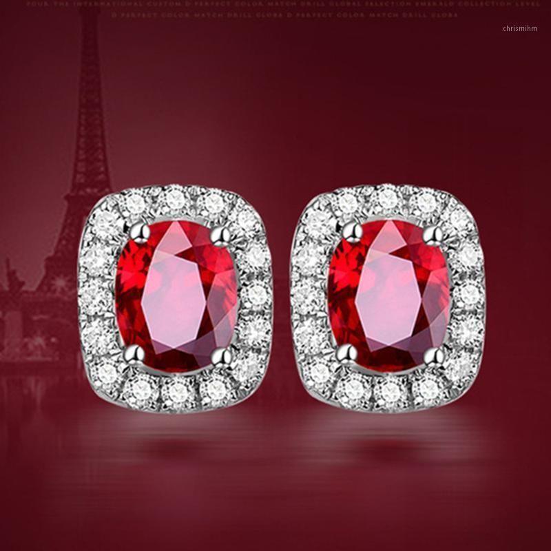 Небольшие элегантные рубины драгоценные камни красные хрустальные серьги-гвоздики женщины мода циркона алмаз белый золотой стерлингов серебро925 роскошные ювелирные изделия1