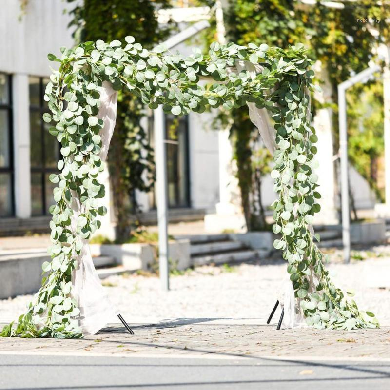 Hot artificial simulatura rotonda eucalyptus lascia il rattan per il partito all'aperto party wedding background wall decor1
