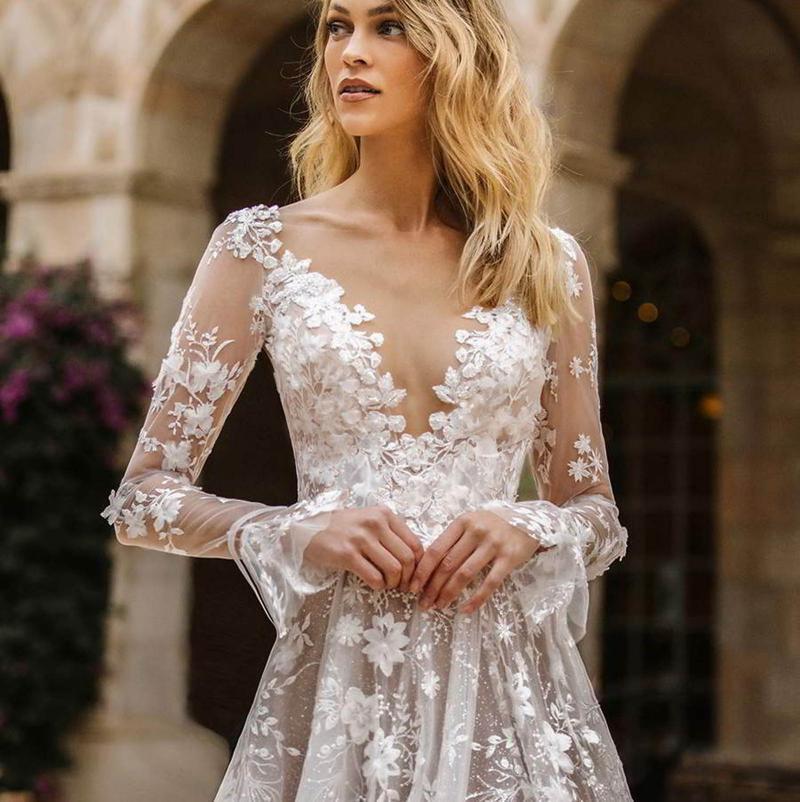 Donne inverno V-Neck Sexy Sexy Lace Party Dress Lady Bianco Abiti in pizzo Bianco Abiti a maniche lunghe Femmina per il partito Vestido Mujer # T2G