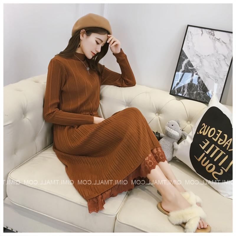 2020 versão Vestido dressLace dressKorean de média e longa camisola de outono mulheres e inverno ao longo do joelho rendas tricô de fundo vestido de cintura c