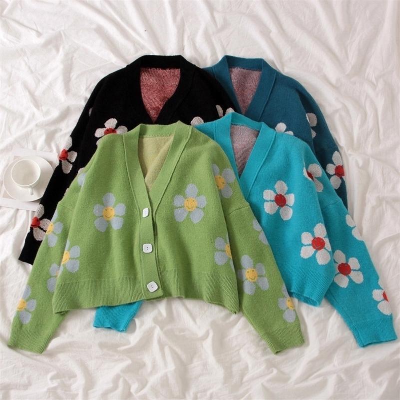 Femmes Cardigan Femelle Sweaters Mignon Vert Vert Symbole Vintage Pull Vintage Pulls à ressort avec fleur Print Femmes Tops Y200720