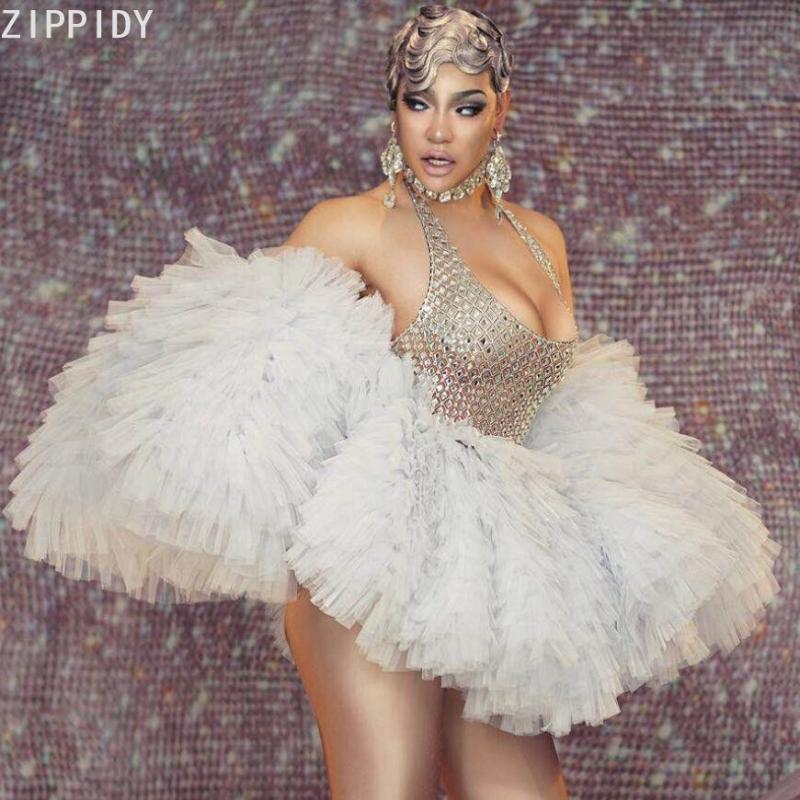 Сцена носить серебряные камни Halter белое платье Prom Bar женщин певица танцовщица показать наряд рождения праздновать вечеринку