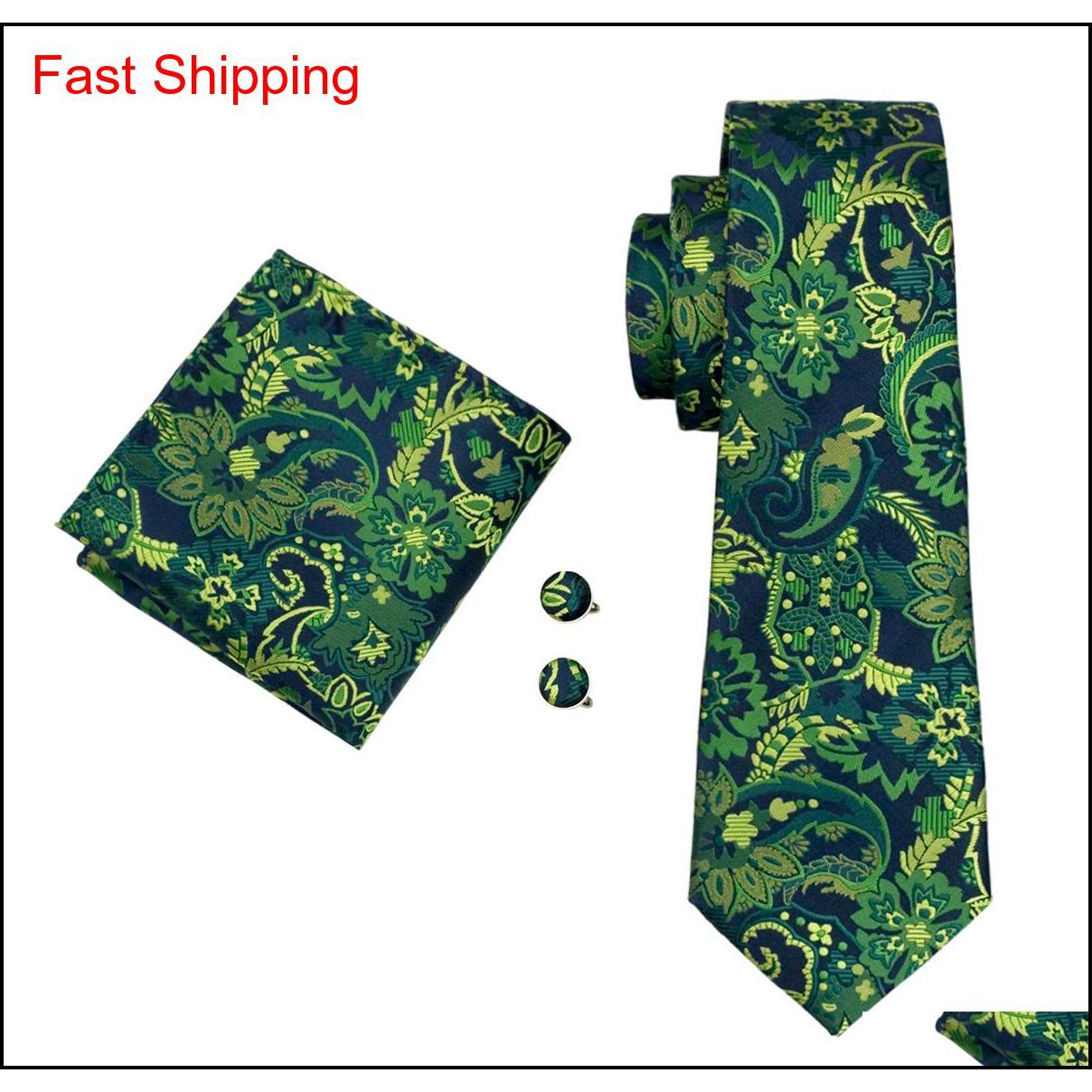 Classic Silk Hommes Cravates vertes Ensembles de cravate Floral Hommes Cravate Cravate Hanky Boutons de manchette Ensemble Jacquard Woven Business Business Qylafq Homes2007