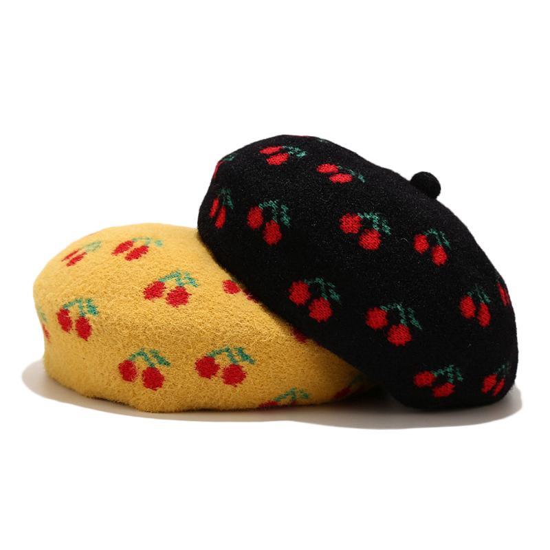 Inverno Nuovo cappello di lana berretto ciliegio modello per le donne cappello di corsa caldo simpatici berretti femminili LADIE francese Vintage protezione del pittore a piedi