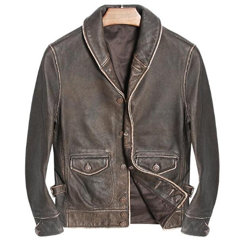 2020 nueva llegada de Brown de la vendimia Hombre chaqueta de cuero Casual solo pecho más el tamaño XXXL genuino Escudo de cuero de vaca ruso