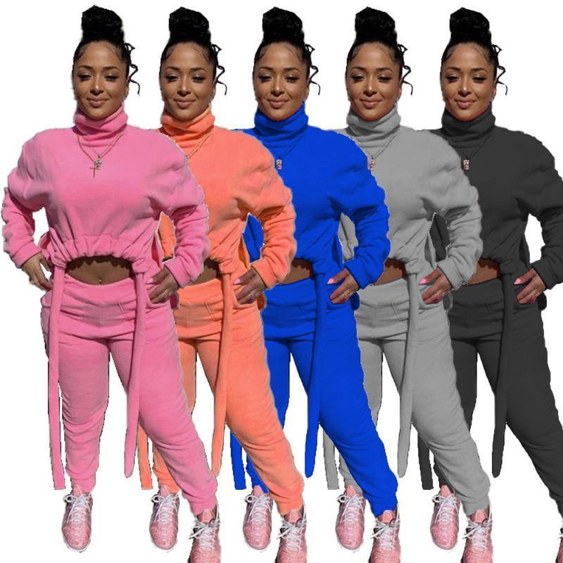 Chándal de mujer Streetwear Streetwear Casual Cheatsuit 2 Set de dos piezas Ropa de las mujeres Invierno Turtimeneck Cult Top y Sweetpants Conjuntos de juego Sujetadores S