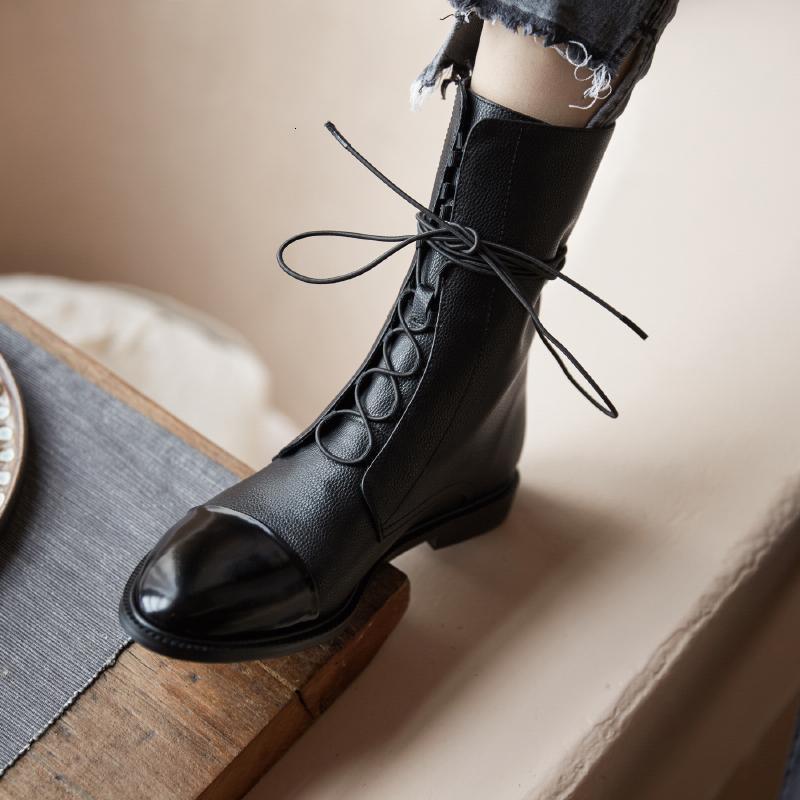 2021 donne calde a metà vitello genuino foot 22-25 in lunghezza dei brevetti stivali corti TFSO