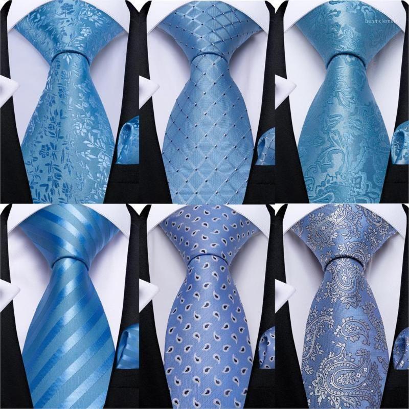 Бантики галстуки подарок мужские галстуки светло-голубой цветочный дизайн шелковая свадьба для прилагаемой заповочной связи набор Dibange бизнес мода Drop1