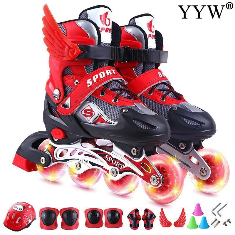 Inline Roller Skates 2021 Mädchen Kinder Kinder Skating Schuhe Schiebe Sneakers 4Wräles 1 Zeile Linie Outdoor Training Gym Blau Rosa