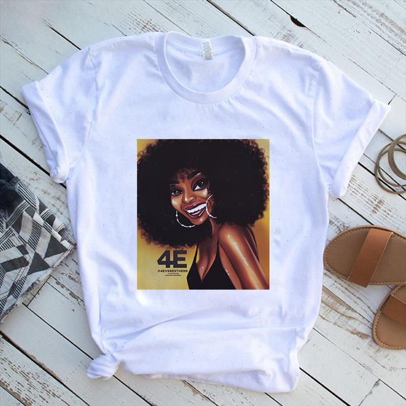 Womens Harajuku T-shirt Schwarzes Mädchen T-shirt Gelocktes Haar Mädchen lässig weißes grafisches Hemd Top Sommerfrauen