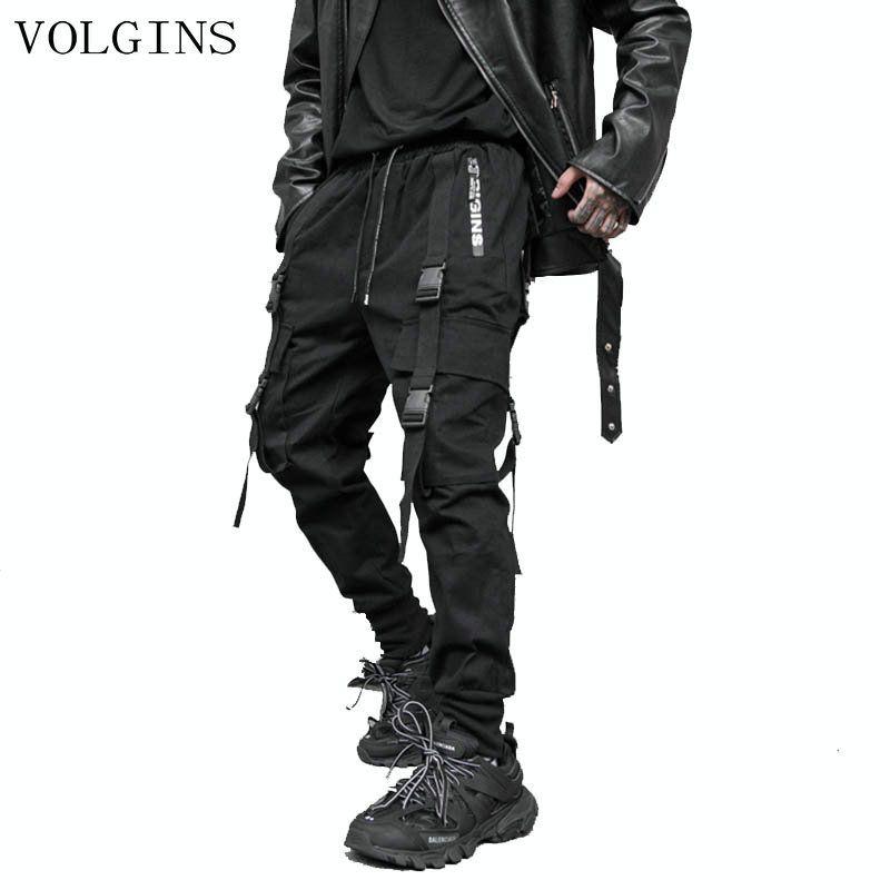Streetwear Мужские пробежки Брюки 2020 Мужские ленты хлопка грузовые брюки брюки эластичные талии хип-хоп черный карандаш гарем брюки мужчины Q0120