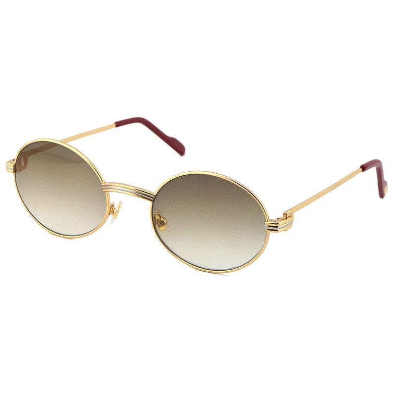 Toptan Büyük 1186111 Metal Güneş Gözlüğü Nefis Hem Erkekler Ve Kadınlar Adumbral Gözlük UV40 Lens Boyutu: 55-22-140mm Gümüş 18 K Altın Çerçeve Gözlük Yuvarlak Gözlük