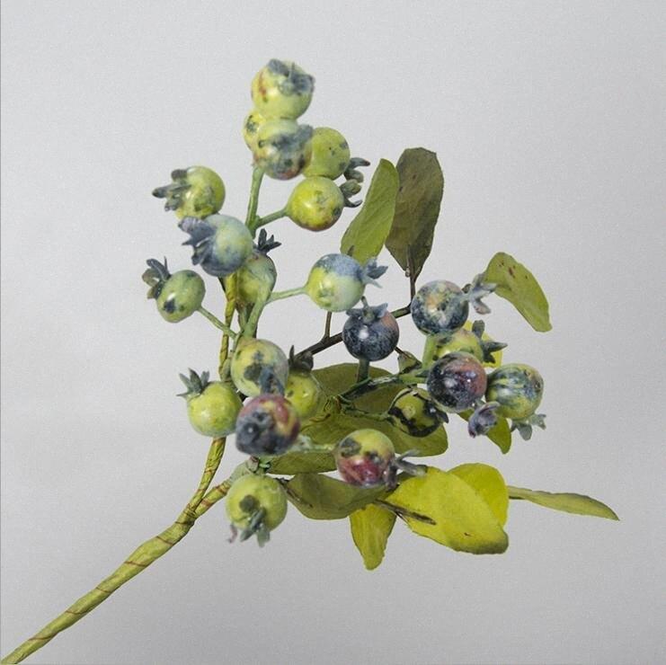 Artificielle grenade branches d'arbres de baies avec des fleurs de cerisier fruit faux feuille plantes bricolage de décoration de décoration de mariage couronne Seby #