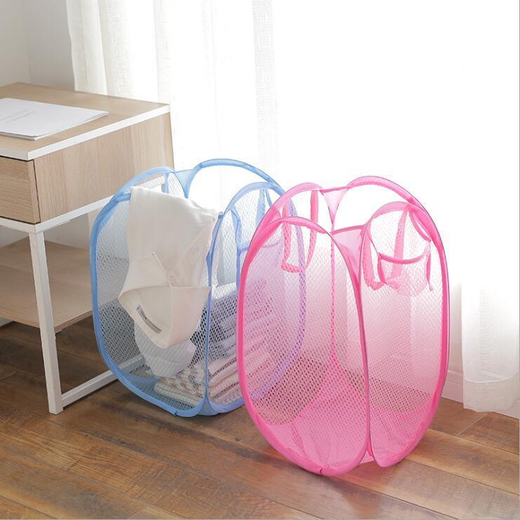 세탁 바구니 접이식 메쉬 세탁 바구니 옷 저장 바구니 탄성 메쉬 저장 가정용 가정용 일광욕 가방 바다 FFC4791