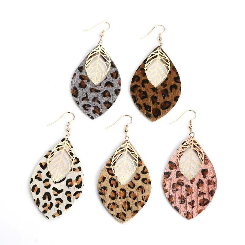 Hot Sale Double Layer Glitter Gold Leopard Print Leather Teardrop Earrings Animal Print Large Leaf Earrings for Women Gift