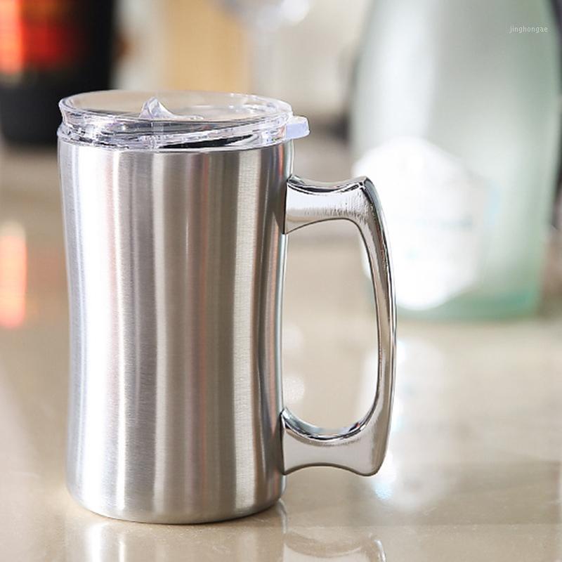Yalıtım fincanı, 2 paket, paslanmaz çelik kahve fincanı, 15 oz kahve (420 mL), çift bira bardağı, kolu olan tumbler, yalıtımlı1