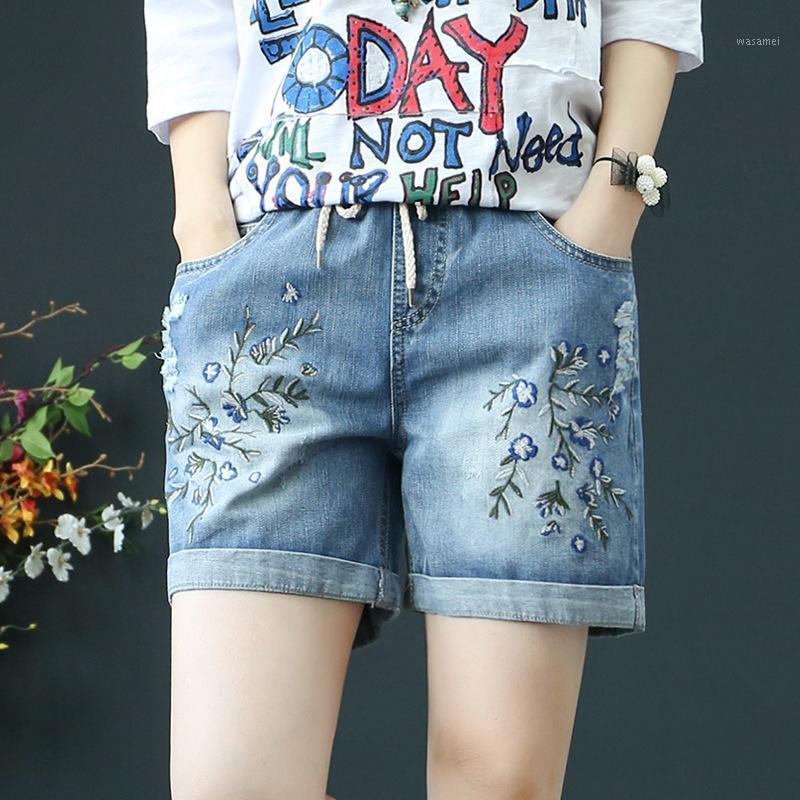 Sommer Casual Denim Shorts Frauen Plus Größe Elastic High Taille Ripping Vintage Stickerei Pocket Jeans Shorts Hosen Ropa de Mujer1