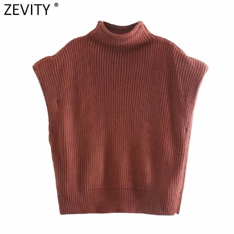 Zevity New Women High Street Hombro Hombro Diseño Acolchado Sólido Sweat Knitting Suéter Femme Chic Modelos Casual Jerseys Tops S5331