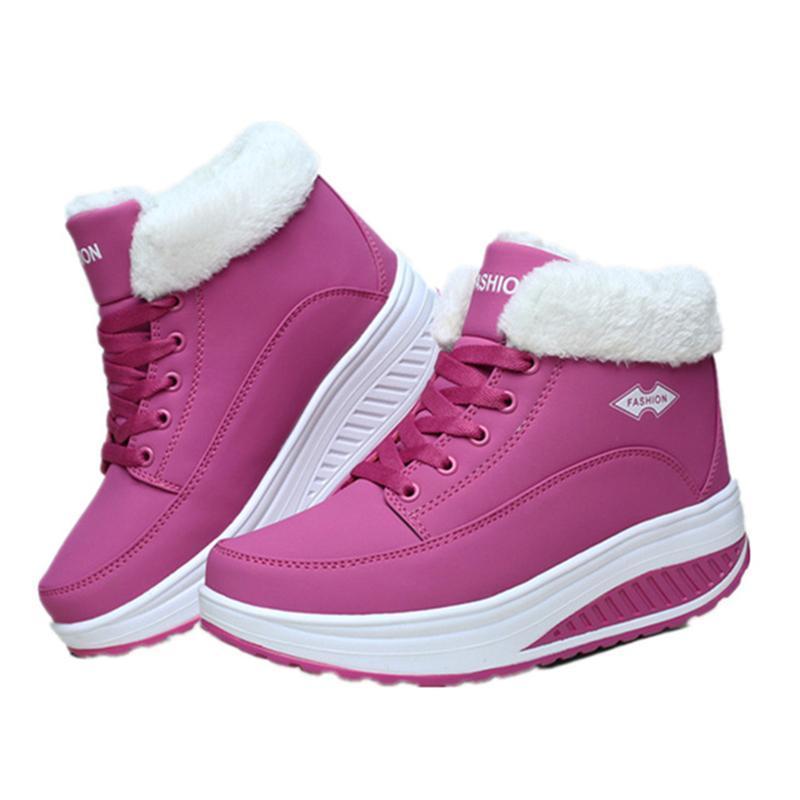 EISWELT Fasdhion hiver Chaussures femelle supplémentaire Swing Velvet neige Plateforme Bottes Femmes thermiques Chaussures en coton rembourré plat Bottines