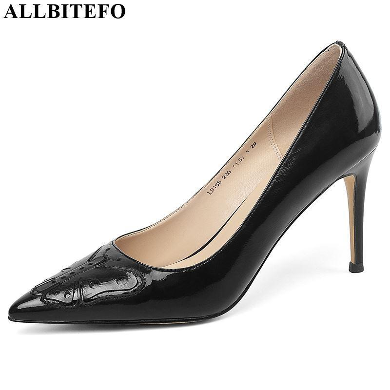 Zapatos de vestir AllBiteFo Natural Cuero genuino Mujer Tacones altos Simple Mariposa Decoración Tacón Partido