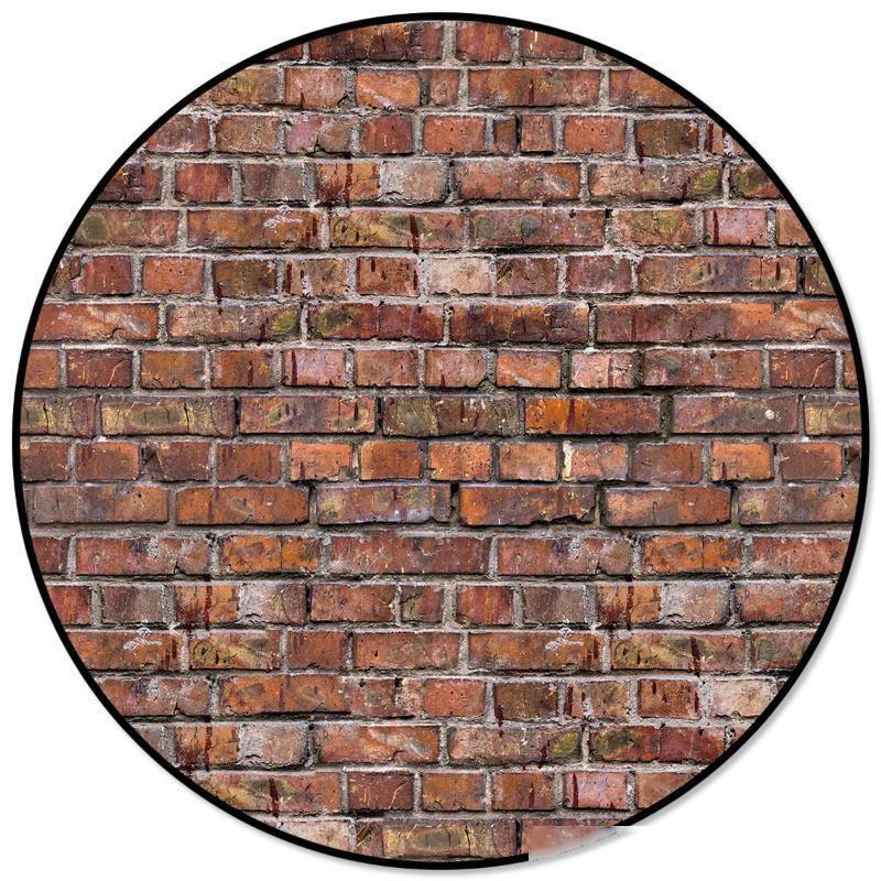 Crack В камне кирпичной стены Ретро Красный камень Обои ковры и ковровые покрытия для дома Гостиного Круглого коврика для детей Номера для скольжения