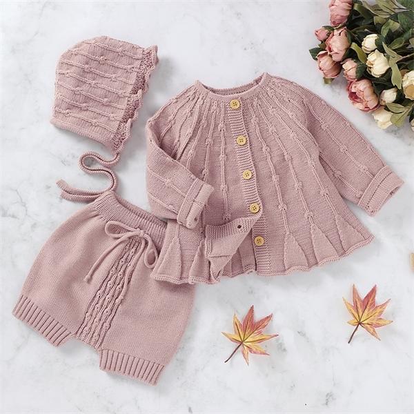 2020 Nouveaux Printemps Automne Infant Filles Cardigan Pure Color Coat + Pantalon + Chapeau Vêtements Ensembles Costume Enfants Fille tricot Vêtements Ensembles X0923