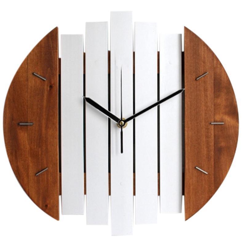 Orologio da parete in legno di disegno moderno Vintage Rustic Shabby Clock Tranquillo Arte Guarda decorazione domestica