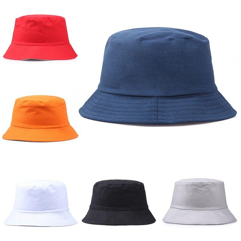 Viajes Pescador Ocio Cubo Cubo Sombreros Color Sólido Moda Hombres Mujeres Plano Top Plazo Amplio Casquillo de verano para Visera de Deportes al aire libre DC281