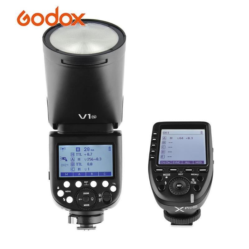 Godox V1N Flash Speedlite Cabeça Redonda Xpro-N i-TTL flash gatilho para D5300 D750 Retrato Câmeras Z7 casamento Estúdio