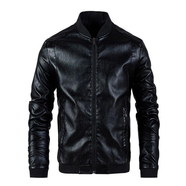 Erkekler Deri Erkek Standı Yaka Coat İlkbahar Sonbahar Casual Slim Büyük PU Fermuar Ceket 8XL Erkek Moto Biker Coats Kabanlar C1103